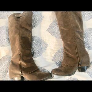 6bf9483df64 Gorgeous Reverse Calf Heeled Boots Fergalicious
